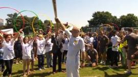 Sir Patrick Stewart and the Olympic torch