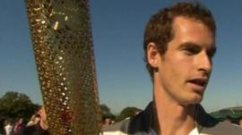 Andy Murray with Olympic torch