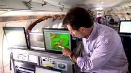 David Shukman on board a plane monitoring pollution levels