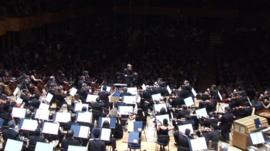 The Sao Paulo Symphony Orchestra being led by Marin Alsop