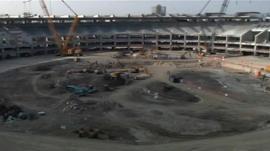 The Maracana stadium during renovation