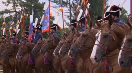 Some of the cossacks on their horses