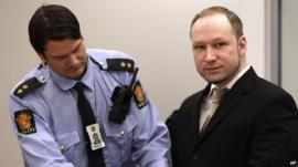 Anders Breivik being handcuffed