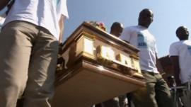 Men carry coffin