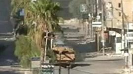 Tank in street