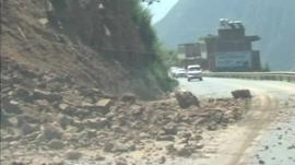 Earthquake-damaged road in China