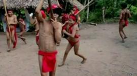Yanomami villagers dancing
