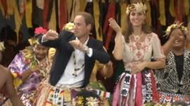 The Duke and Duchess of Cambridge dancing in Tuvalu