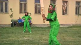 Female cricket players train in Kabul
