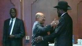 Sudan's Omar al-Bashir, left, and South Sudan's Salva Kiir, right