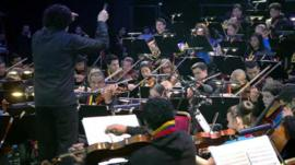 Conductor Gustavo Dudamel conducts the Big Noise Stirling