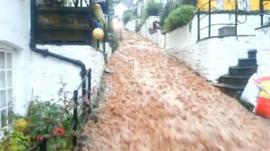 Clovelly flood - Footage by Steve Marvell