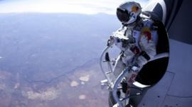 Skydiver Felix Baumgartner prepares to jump 24 miles high