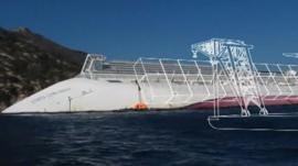 Graphic showing how ship will be removed