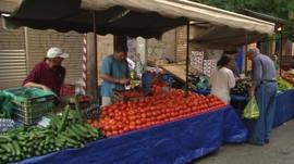 Market stall in Greece
