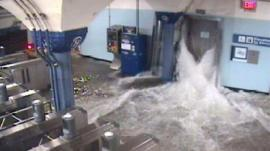 CCTV photo released by The Port Authority of New York shows flood waters from Hurricane Sandy rushing in to the Hoboken PATH station through an elevator shaft