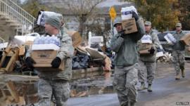 US Army distributing food aid