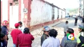 Local television footage shows damage to buildings in Guatemala