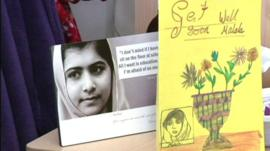 Malala Yousafzai's photo and a wellwisher's card