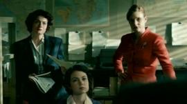 Actors Anna Chancellor and Romola Garai, The Hour