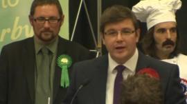 Labour's Andy Sawford giving victory speech