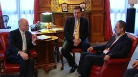 UK Foreign Secretary William Hague with Syrian opposition leader President Ahmed Moaz al-Khatib