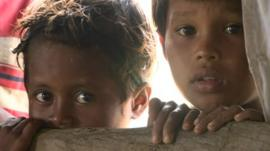 Children in Rakhine state Burma