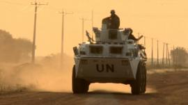 Ethiopian UN peacekeepers, who are patrolling around Abeyei's mosque