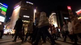Pedestrians in central Tokyo