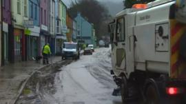 Cleaning up after flooding in Llanberis
