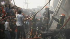Fire at a clothing factory in Dhaka