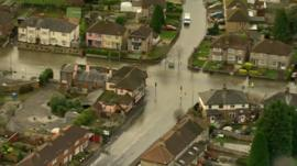 Aerial view of Oxford flooding