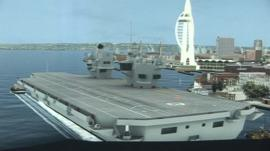 A computer generated image of the carrier in Portsmouth Harbour