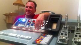 Greg Dietrich shows off the Falcon console