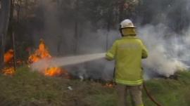 A firefighter tackles a bushfire near Brisbane