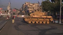 A tank on a street in Cairo