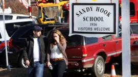 Scene outside Sandy Hook school in Newtown, Connecticut