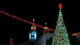 Christmas tree and decorations in Manger Square, Bethlehem