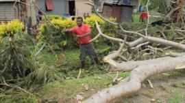 Aftermath of cyclone Evan