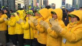 Supporters of one of the candidates in South Korean presidential election
