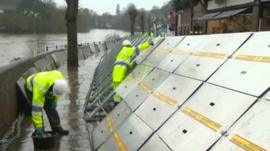 Flood defences being installed along the River Severn