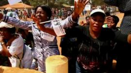 Women protesting in Bangui