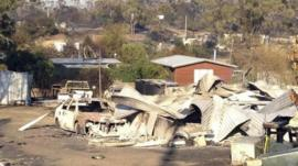 Fire damage in Dunalley, east of Hobart, 5 January