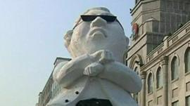 An ice carving of Korean singer Psy