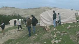 Palestinian activists at the camp