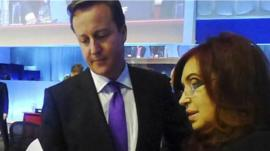 David Cameron and Cristina Fernandez de Kirchner