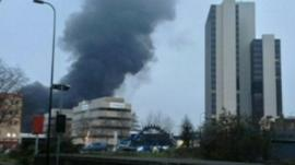Plume of smoke in Vauxhall