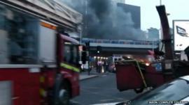 Fire engine at scene of crash