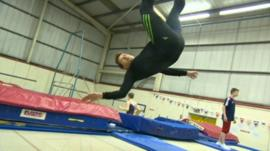 Mike Bushell trampolining
