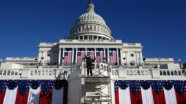 Capitol Building draped in flags